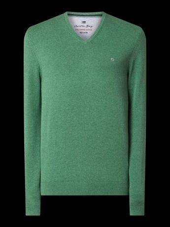 Sweter Christian Berg Men Sweter z bawełny Supima® Zielony melanż