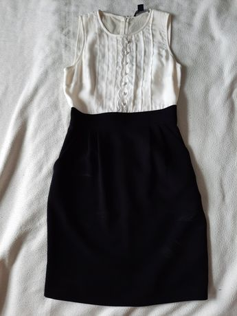 Sukienka ecru-czarny