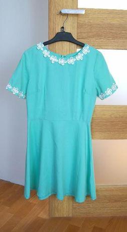 sliczna mietowa rozkloszowana turkusowa krotka sukienka 38M 36S kwiaty