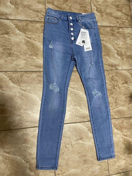 Spodnie jeans wysoki stan Nowe!