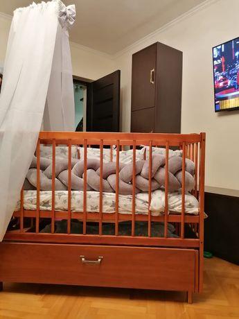 Ліжечко дитяче+постіль,балдахін+матрасик