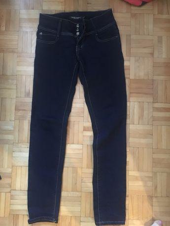Spodnie jeansy biodrówki granatowe