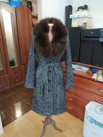 Зимнее пальто, шерсть, натуральный мех, песец