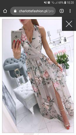 Wieczorowa sukienka maxi w kwiaty.