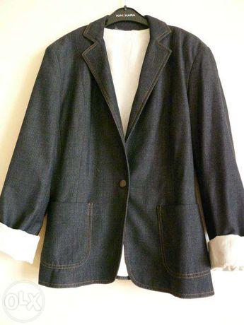 modny ciemny jeansowy dżinsowy żakiet z kieszeniami marynarka M 38