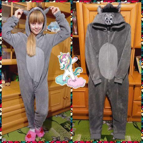 Теплый плюшевый кигуруми, слип, пижама. 11-12 лет, р.146-152см