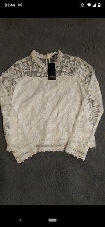 Piękna biała bluzka koronka. Rozmiar L