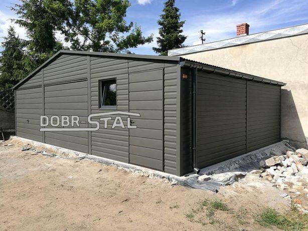 Garaż 9x6 Grafit, Panel Blachy Poziomy, Okno, Rynny