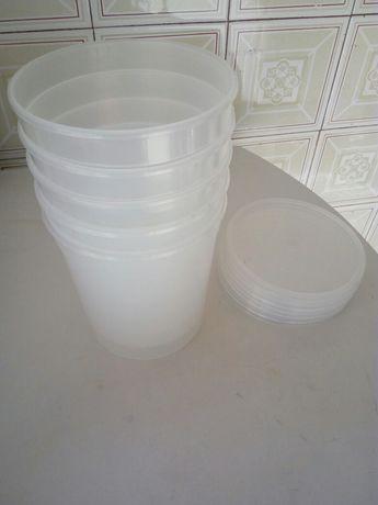 Recipientes em plástico com tampa para alimentos com 1 Lt ou 0,5 Lt
