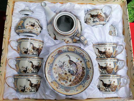 Japoński komplet porcelanowy  do kawy Pawie