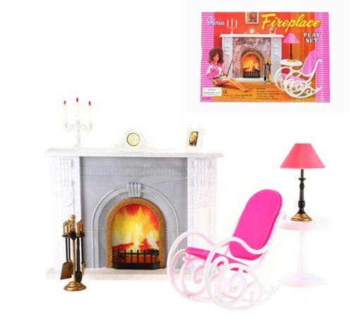 Kominek dla lalki Barbie fotel bujany świece