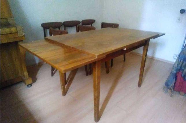 Stół prl rozkładany i krzesła prl Hałas