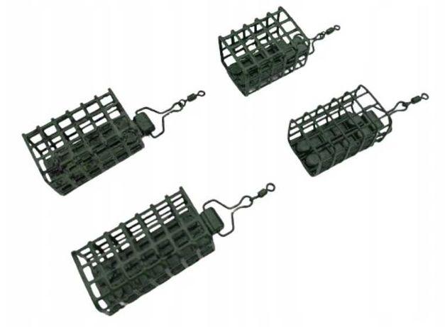 koszyczek zanętowy podajnik x4 z krętlikiem 20-50g ZIELEŃ ZESTAW