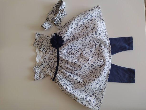 Komplet dla dziewczynki 68 sukienka + leginsy+ opaska Cool club Zestaw