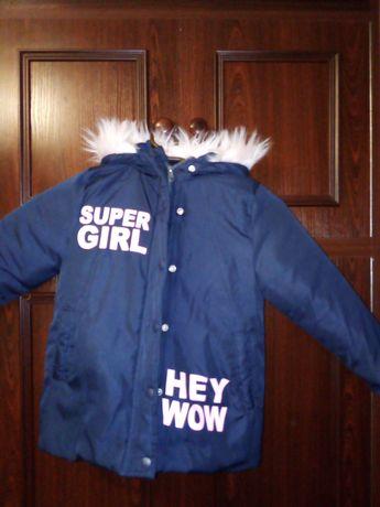 Kurtka zimowa dziewczęca 110 ciepła stan bardzo dobry
