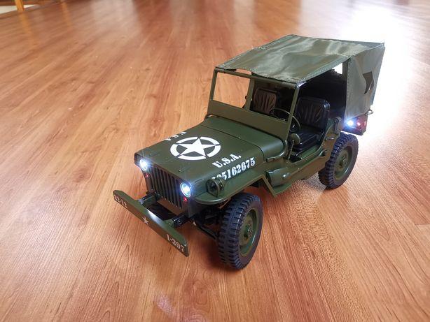 Carro RC Jeep Militar Willy Rock Crawler 4x4 JJRC Q65 1:10 com LED's
