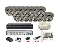 Zestaw monitoring 16 kamer FULLHD 2MPX Zasilanie Akcesoria Przewód