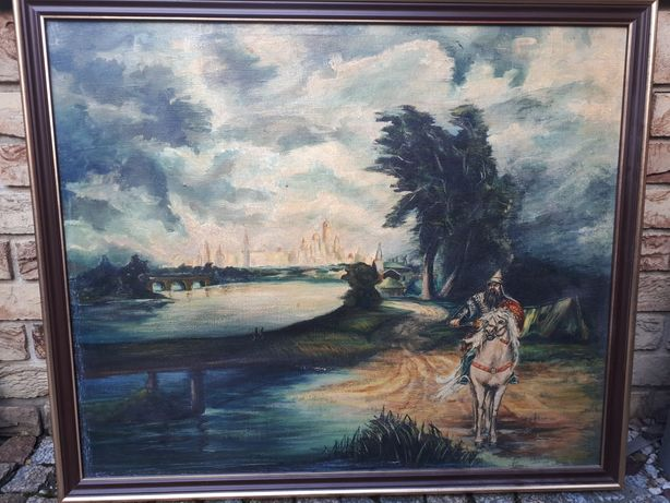 Obraz olejny malowany na płótnie 50 letni