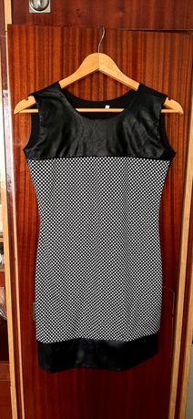 Чорне плаття з шкіряними вставками,підліткове плаття.
