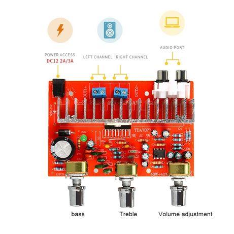 цифровой аудио усилитель TDA7377. 2*40W. Питание DC/AC 9-15 V. Cтерео