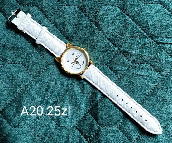 Biały zegarek kotek złota tarcza kot