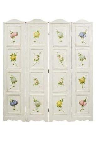 Parawan z drewniany biały stylowy drewno kwiaty prowansja