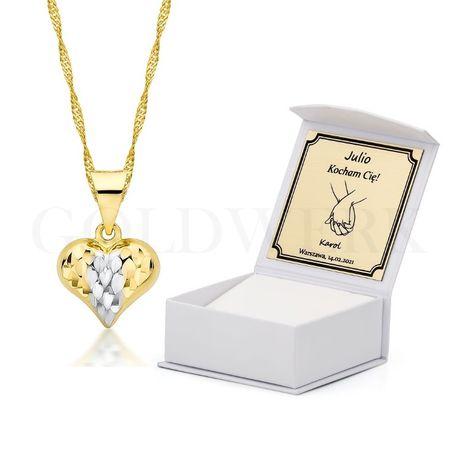 GRAWER Walentynki 585 Złoty Łańcuszek Naszyjnik Serce Złote Serduszko