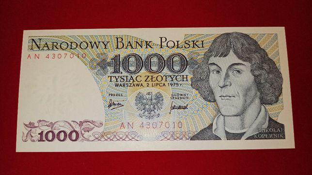 Banknot 1.000 zł 1975 Kopernik seria AN UNC 1000 NBP PRL