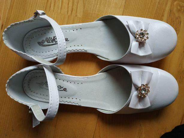 Piękne skórzane buty do komunii komunijne 37