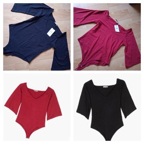 Nowe body M 2 sztuki czarne i czerwone body bluzki jednokolorowe