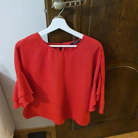 Czerwona bluzka z rozkloszowanymi rękawami Mohito rozmiar 42
