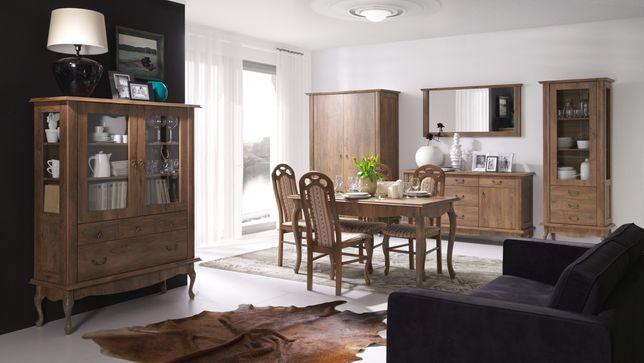 Zestaw brązowych/białych mebli Diana 3 do salonu w stylu prowansalskim