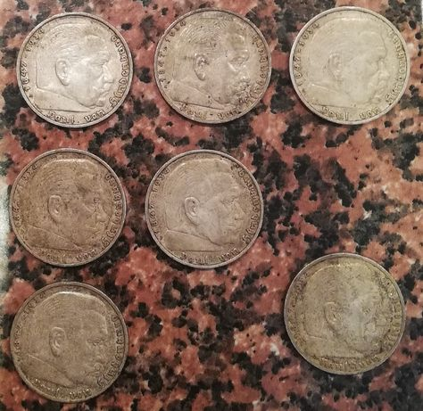5 MAREK 1935 i 1936 A E F J Deutsches Reich srebro Paul Von Hindenburg