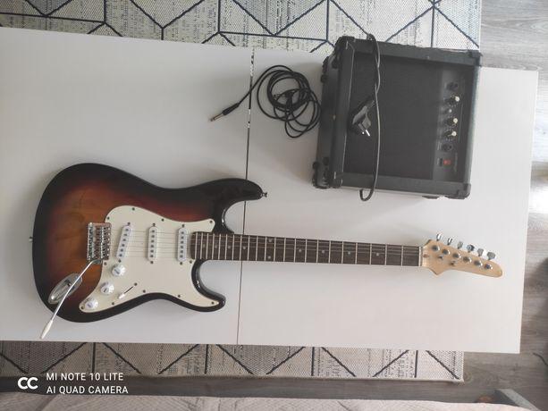 Gitara elektryczna + wzmacniacz i pokrowiec