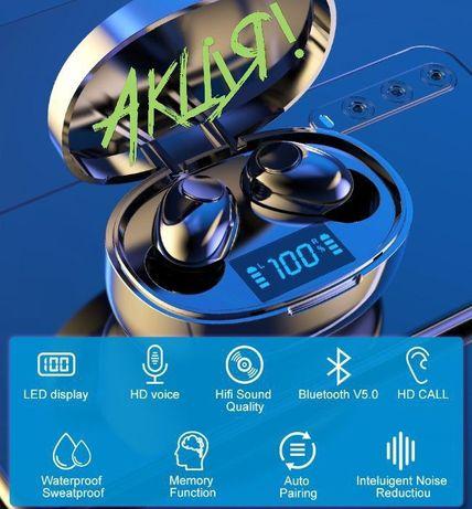 Безпровідні водонепроникні навушники(LED дисплей та стерео/бас) + кейс