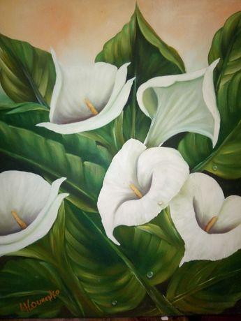 Pintura em óleo sobre tela flores Calma - assinada Lourenço