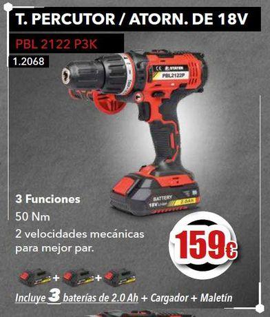 Aparafusador 18 V PBL2122 P3K + 3 Bat 2.0Ah + Carregador + Mala.