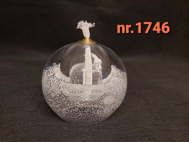 Szklana lampka oliwna + nowy  knot