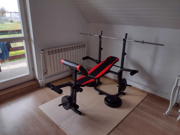 Xylo siłownia 62 kg zestaw ŁAWKA+GRYF+OBCIĄŻENIA