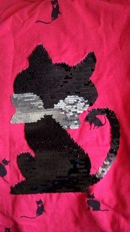 Реглан кофточка с кошечкой пайетками кофта для девочки рост 140 см кот