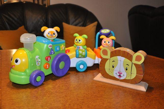 zestaw zabawek ciuchcia Fisher Price + drew. klocki