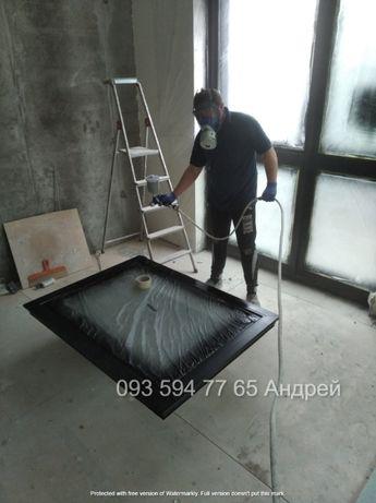 Маляр. Покраска стен, потолков, труб, ПВХ окон краскопультом.