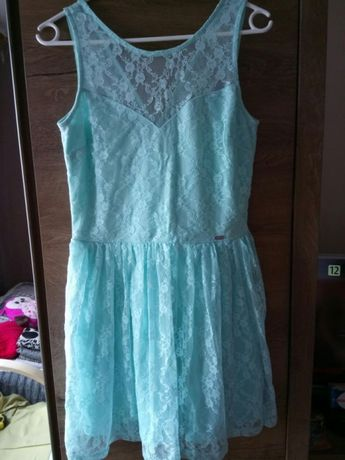 Miętowa sukienka S koronkowa
