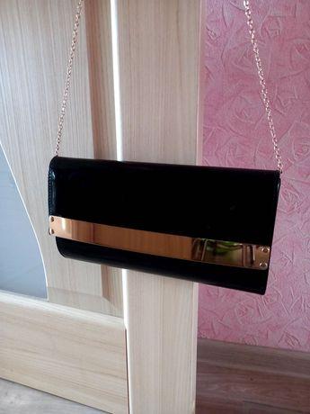 Лаковая, чёрная сумочка / клатч лаковый / сумка, идеальное состояние