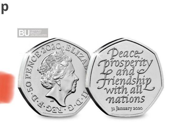50 pence, 50 pensów BREXIT 2020 moneta, UK anglia