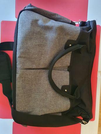 Szaro czarna torba z przewijakiem do wózka
