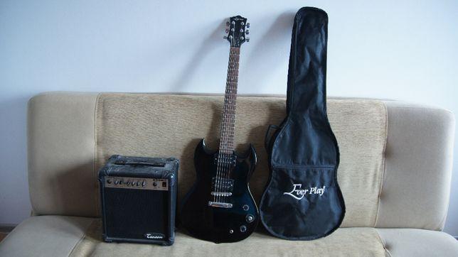 Gitara elektryczna Ever Play, pokrowiec i wzmacniacz Tenson