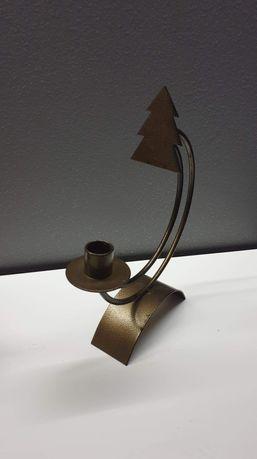 Świecznik świąteczny metaliczny brąz