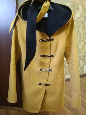 Кашемировое пальто, пальто из кашемира, горчица, горчичное пальто