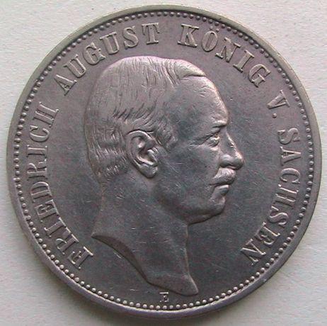 Германия Империя 3 марки 1909 Саксония Серебро Хороший сохран!